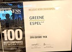 Minnesota Business Selects Greene Espel PLLP as a 2018 Editors' Pick for an Inclusive Work Environment